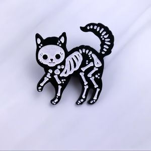 Sweet Skeletal Kitty Enamel Pin/ Brooch